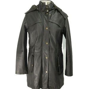 Excelled Collection Leather Hooded Jacket